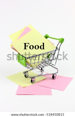 trolley carrying paper writing is food