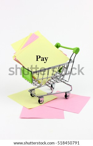 trolley carrying paper writing is pay