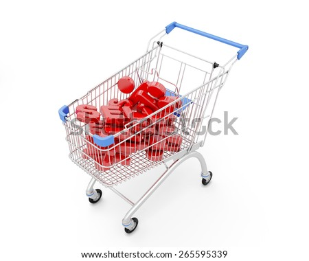 Trolley Discount isolated on white background. 3d illustration. - stock photo