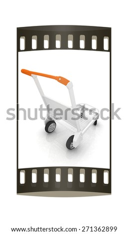 Trolley for luggage at the airport. The film strip - stock photo