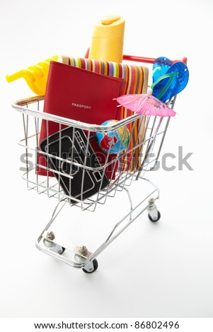 Trolley full of items for holiday