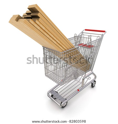 Trolley full of lumber. 3d rendering - stock photo