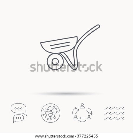 Trolley icon. Garden cart sign. Gardener equipment symbol. Global connect network, ocean wave and chat dialog icons. Teamwork symbol. - stock photo