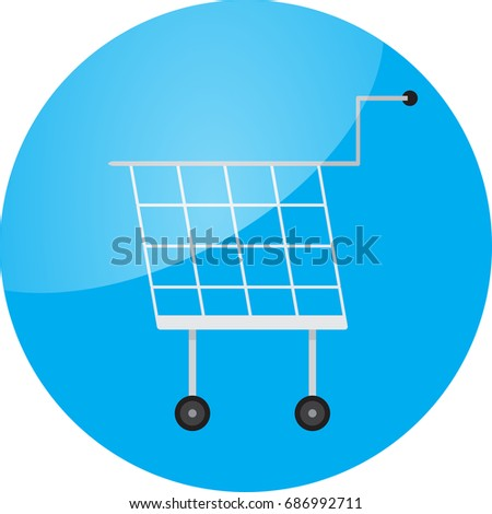 Trolley icon round glossy app. Trolley car, shopping trolley,  shopping cart,  supermarket trolley, button buy, shop cart. abstract flat design illustration