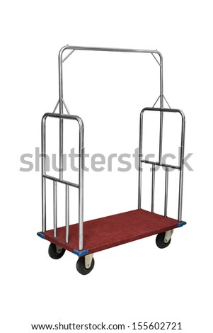 trolley in hotel for guests bags - stock photo