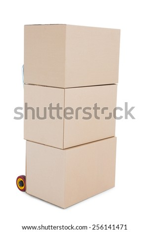 Trolley of boxes on white background - stock photo