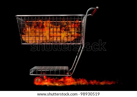 trolley render fire sale liquidation hot bargins - stock photo