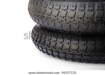 Trolley tire isolated on white background.