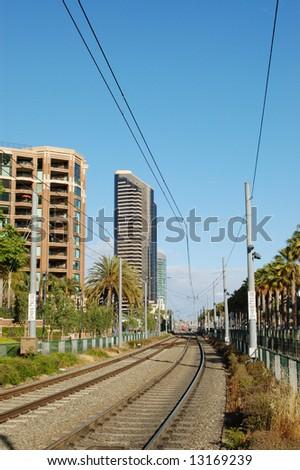 Trolley tracks; San Diego, California - stock photo