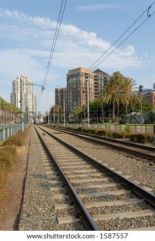 Trolley tracks, San Diego, California - stock photo