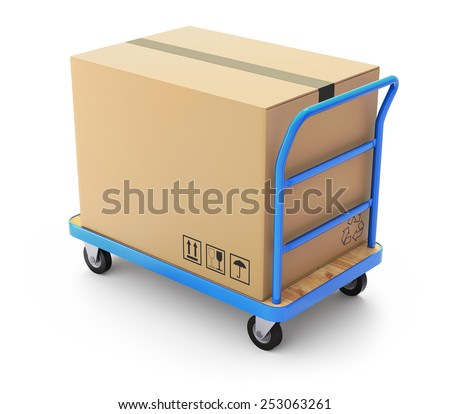 Trolley with big box - stock photo