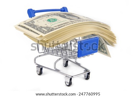 trolley with money concept  isolated on white - stock photo