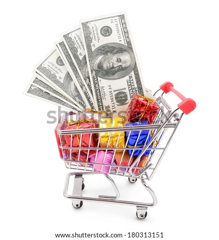 trolley with money dollars and gifts, isolated on white background