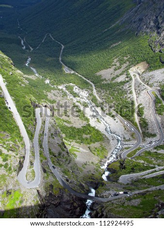 trollstigen - a famous mountain road in Norway - stock photo