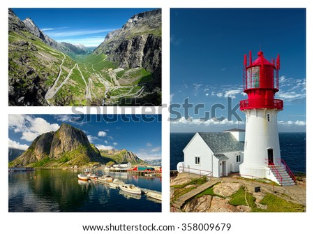 Trollstigen road. Lofoten Islands. Lindesnes Fyr beacon. Norway attractions.  Scandinavia. Travel. - stock photo