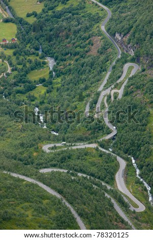 Trollstigen (Troll Path) - one of the moust beautiful mountain rouds in Rauma, Norway - stock photo