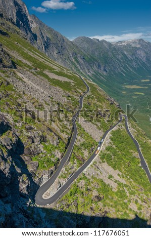 Trollstigen, Troll's Footpath, serpentine mountain road in Norway - stock photo