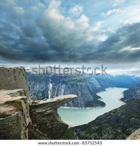 Trolltunga in Norway - stock photo