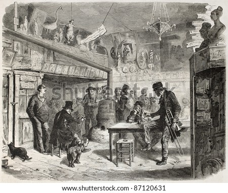 Trombonist at the Lapin-Blanc, Parisian cabaret, rue aux Feves. Created by Worms, published on L'Illustration, Journal Universel, Paris, 1860 - stock photo