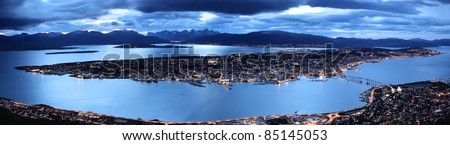 Tromso by twilight panorama, Troms County, northern Norway - stock photo