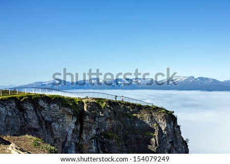 Tromso - mountain landscape, Norwegian city Tromso beyond the Arctic circle. - stock photo