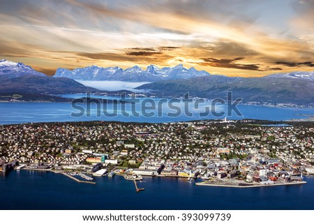 Tromso, Norway. Panoramic sunset sea view from mountain, Norwegian city - stock photo
