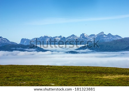 Tromso - panoramic view on mountains, Norway - stock photo