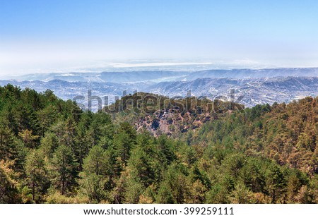 Troodos. Cyprus summer landscape panorama. High angle view. - stock photo