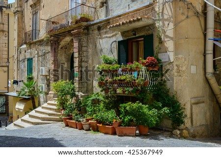 TROPEA, ITALY, JULY 5: an entrance into B&B hotel located in one of the tiny side-street of the town on July 5, 2014, Tropea, Italy.