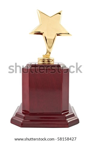 Trophy award on the white background - stock photo