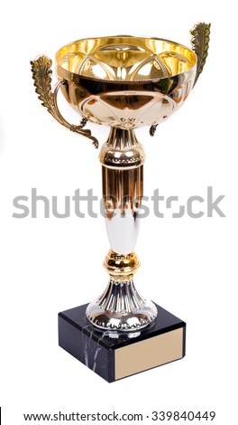 Trophy Aword Cup with the plate and label tag - stock photo