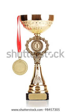 Trophy cup and medal isolated on white - stock photo