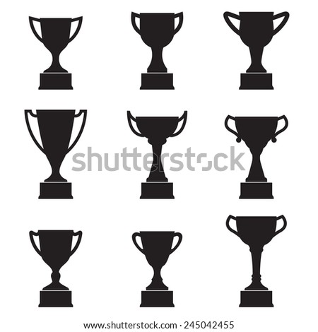 Trophy Cup icon set. Black silhouettes isolated on white background.