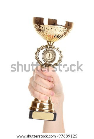 Trophy cup in hand isolated on white - stock photo