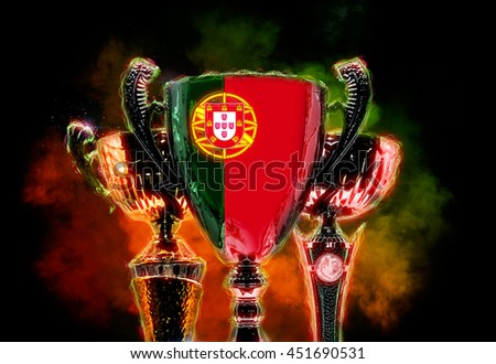 Trophy cup textured with flag of Portugal. 2D Digital illustration. - stock photo