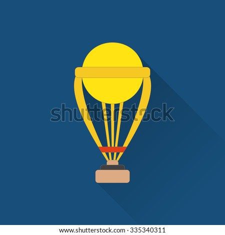 Trophy flat icon. Colored flat image with long shadow on blue background. Cricket game equipment, flat icons composition. Professional sport theme. Unique, modern style. VRaster version. - stock photo
