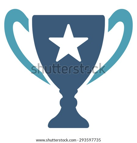 Trophy icon from Competition & Success Bicolor Icon Set. Glyph style: flat bicolor symbols, cyan and blue colors, rounded angles, white background.