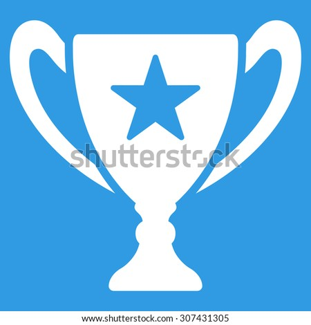 Trophy icon. Glyph style is flat symbols, white color, rounded angles, blue background.