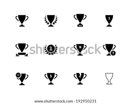Trophy icons on white background. - stock photo