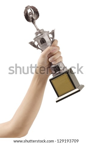trophy in hand isolated on white background - stock photo