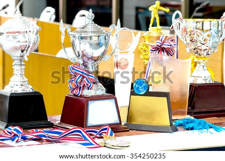trophy indoor to show for win : concept to the winner - stock photo