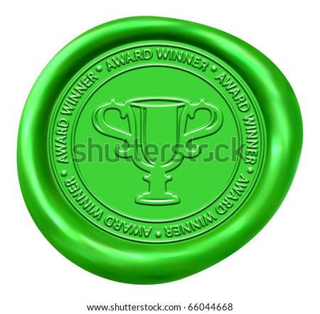Trophy Sign Green Wax Seal - stock photo