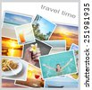 Tropic beach theme collage composed of few photos - stock photo