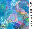 tropic blue and pink floral design - stock photo