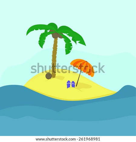 Tropic island and coconut tree