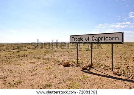 Tropic of Capricorn sign in Namibia beside a road