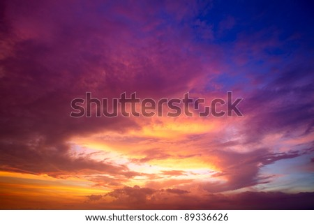 Tropic sunset over Bali as seen from Gili island - stock photo