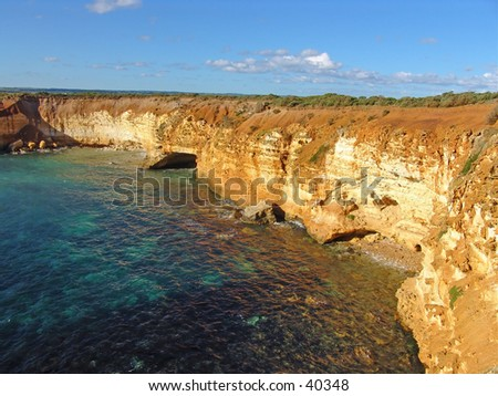 tropical australia seashore with coral - stock photo