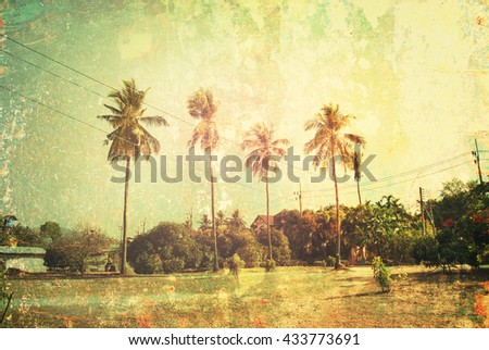 Tropical Background Palm Trees Sun Light Holiday Travel Design Toned Pastel Vintage Shabby Toned Effect
