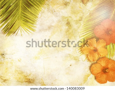 tropical background with palm leaves and hibiscus - stock photo